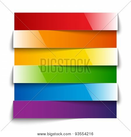 Rainbow shiny paper stripes banners with shadows on white backgr