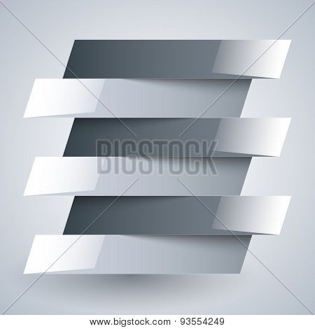 Infographics shiny white and grey paper rectangle banners with shadows