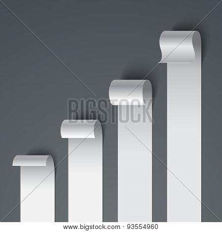 Curled blank paper stripe banners chart on gray background