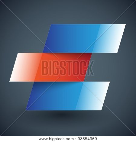 Infographics blue and red shiny metallic rectangle banners with