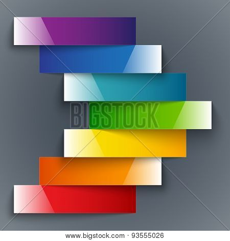 Colorful rainbow shiny paper stripes banners arrow on dark grey