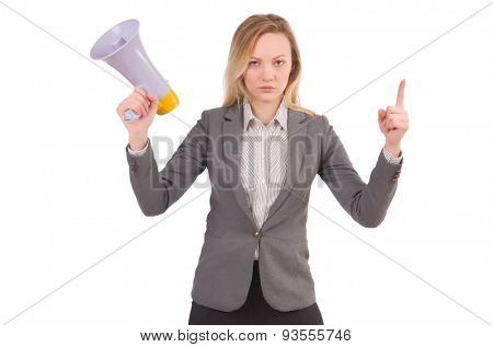 Businesslady with megaphone isolated on white