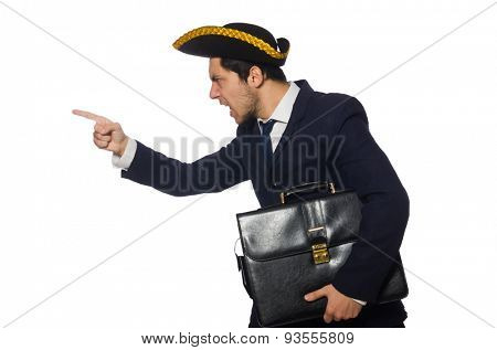 Young captain with briefcase isolated on white