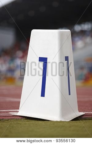 Number One Signpost In An Athletic Running Track