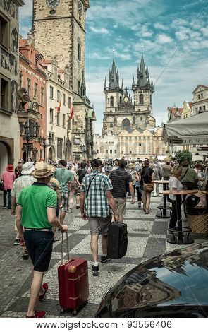 PRAGUE, CZECH - JUNE 7, 2015: Prague is a very popular touristic destination in Europe. Historical center in Prague - Old Town Square