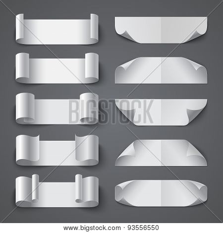 Set of curled blank paper banners with shadows on gray backgroun