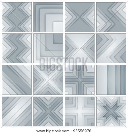 Set of abstract gray and black rectangle shapes backgrounds