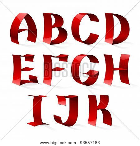 Set of isolated red color shiny ribbon font A-K letters