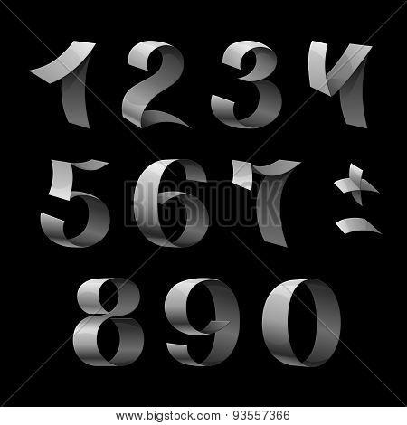 Set of isolated shiny metallic ribbon numbers on black backgroun