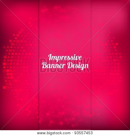 Vector pink banner design with halftone  effect and blured front side with squares. Artistic illustr