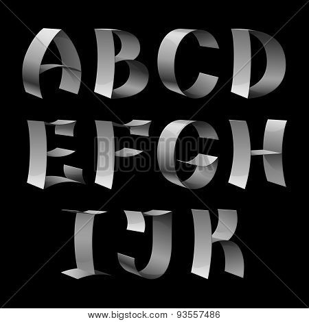 Set of isolated shiny metallic ribbon font A-K letters on black