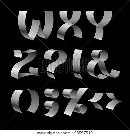 Set of isolated shiny metallic ribbon font W-Z letters and punct