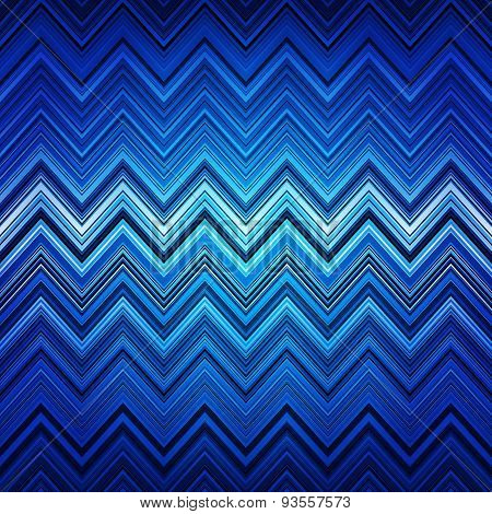Abstract blue, white and black zig-zag warped stripes ethnic pat