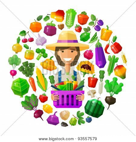 farmer, fruiterer vector logo design template. fresh food, gardening, horticulture or fruits and veg