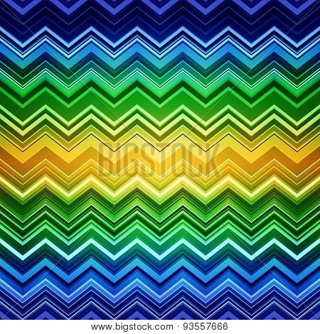 Abstract blue, green and yellow zig-zag warped stripes ethnic pa