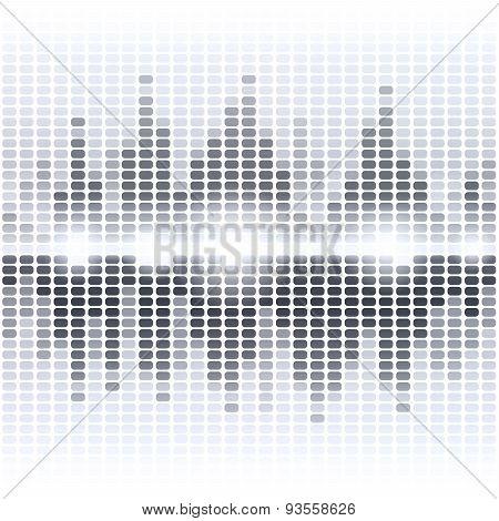 Shining grey digital equalizer on white background