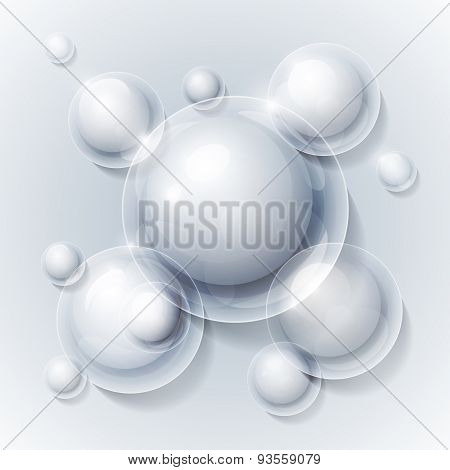 Realistic shiny transparent water drop bubbles on grey backgroun