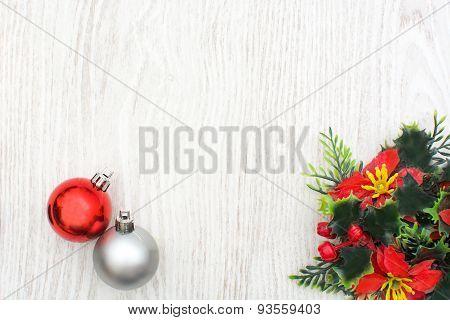 Christmas time. Christmas decoration on wood.