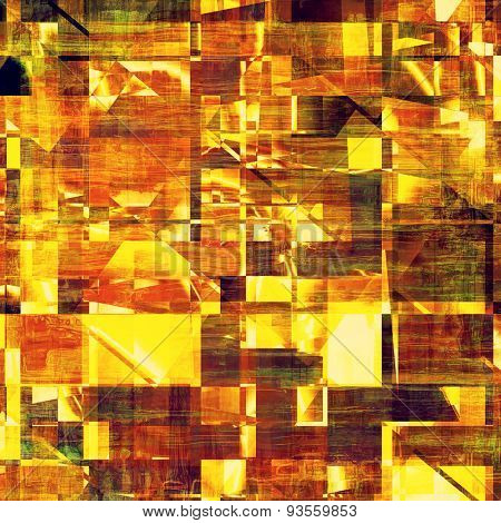 Abstract grunge background with retro design elements and different color patterns: yellow (beige); brown; green; purple (violet)