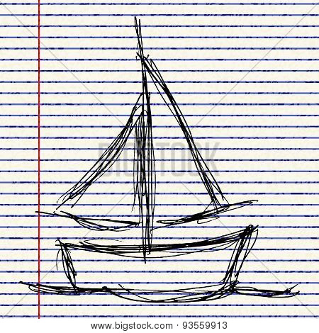 Illustration Of A Boat With Sails