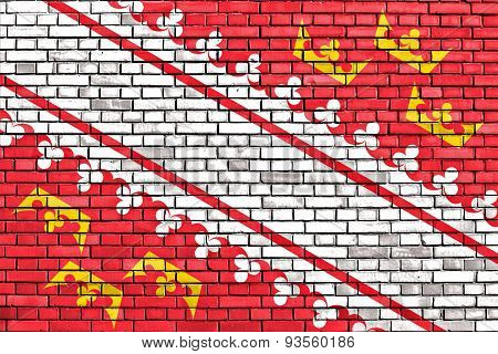 Flag Of Alsace Painted On Brick Wall