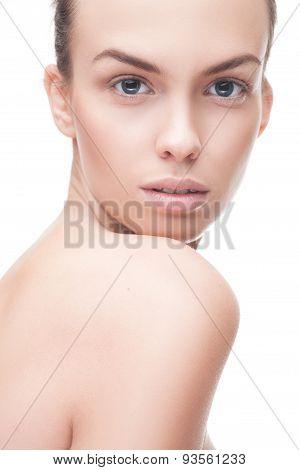 closeup portrait of beauty woman