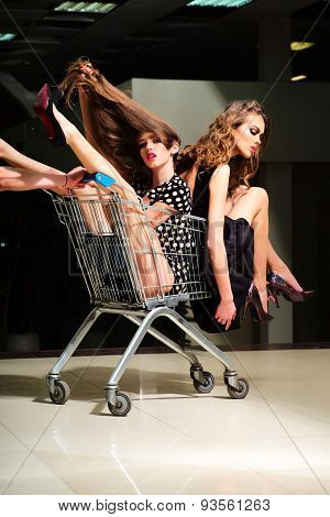 Sensual Girls With Shopping Trolley
