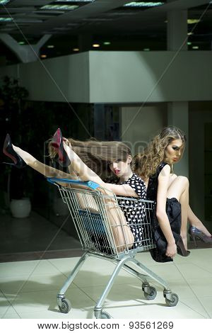 Sexy Girls With Shopping Trolley
