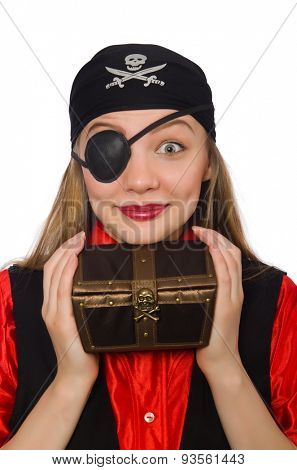 Pirate girl holding chest box isolated on white