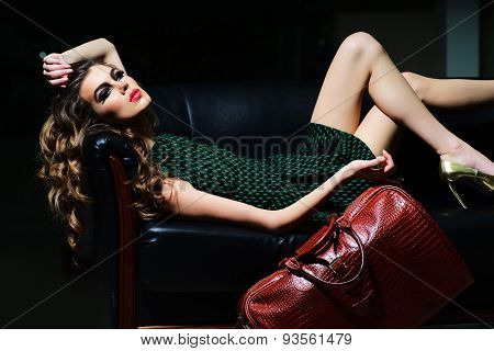 Attractive Woman On Sofa