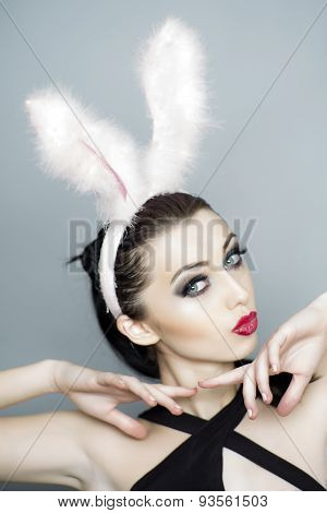 Frisky Girl In Bunny Ears