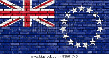 Flag Of Cook Islands Painted On Brick Wall