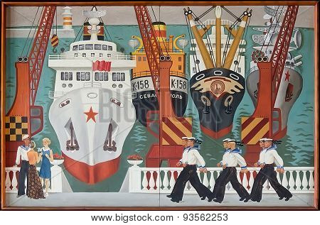 Retro Painting Which Depicts Ships In Port