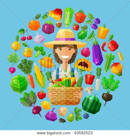 fresh food. fruits and vegetables icons set. farm girl with a basket in her hands