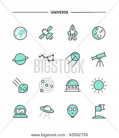 Set Of Flat Design, Thin Line Universe Icons