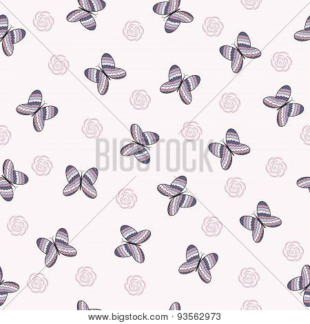 Seamless Pattern With Colorful  Butterflies.