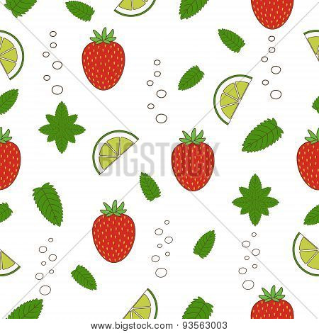Strawberry Mojito Seamless Pattern. Vector Illustration. Hand Drawn Illustration.