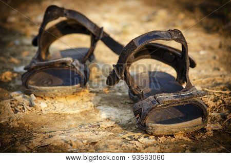 Pair of old sandals
