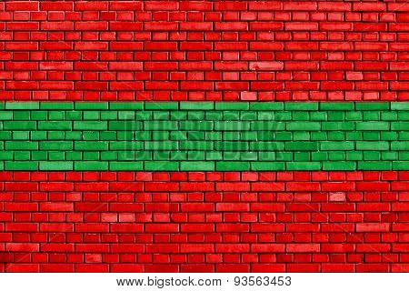 Flag Of Transnistria Painted On Brick Wall