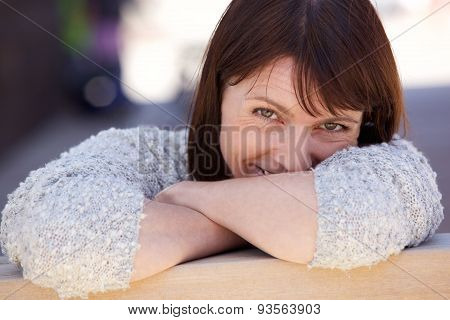 Attractive Older Woman Smiling Outside