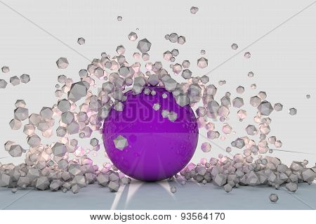 Abstract 3D Objects Explode Around Purple Sphere Backlit. 3D Render Image.