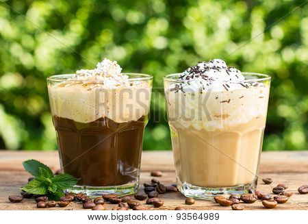 Ice coffee with milk and whipped cream