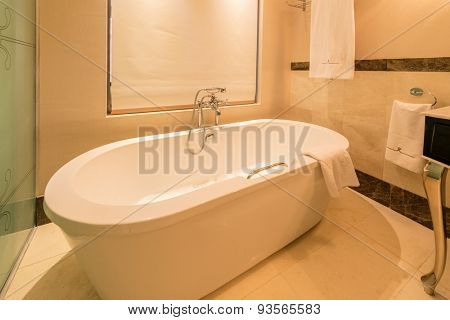 Modern bathroom interior with bathtub