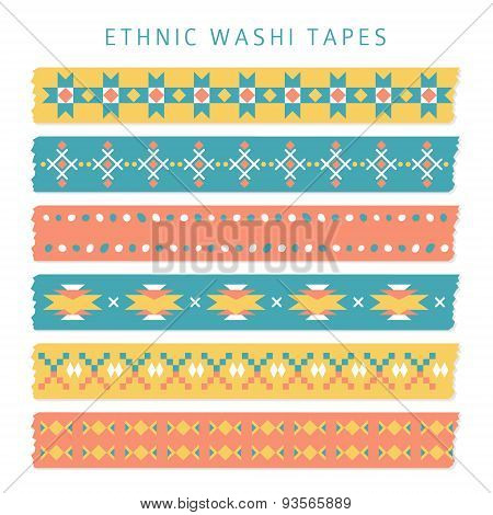 Set Of Washi Tapes With Trendy Aztec, Mexican Or Navajo Patterns, Ethnic Vector