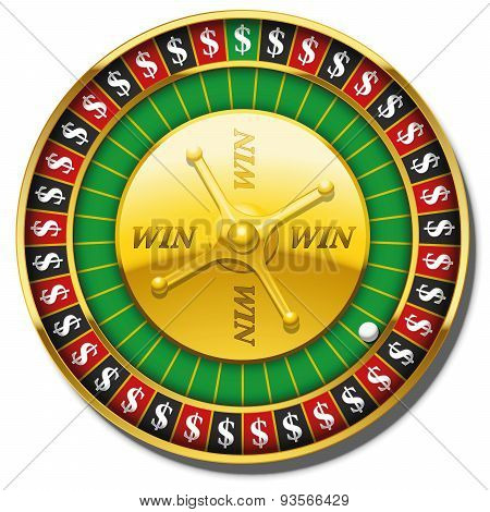 Roulette Wheel Dollars Symbol Win