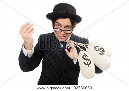 Young employee holding money bags isolated on white
