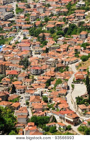 Town of Kalambaka bird view, shot made from the Meteora rocks, Greece