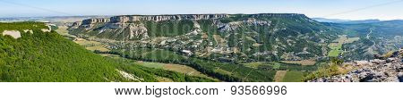 Panoramic very high resolution view from Burun Kaya cliff to Belbek Canyon Valley, Crimea, Ukraine or Russia