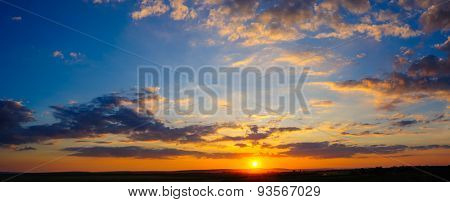 Detailed super high 32 megapixels resolution colorful dramatic sunset panorama stitched from 8 vertical frames