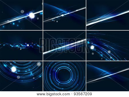 Abstract color glowing lines in dark space with stars and light effects. Futuristic background set with copyspace for your message